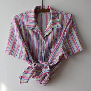 Colourful Striped Short Sleeves Blouse